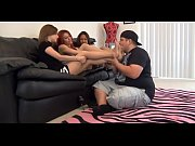 Fat foot slave &_ 3 girls - Three girls punishing their fat slave with pantyhose feet sniffing - watch more on SweetNylonFeet.com