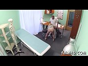 Hard and thick cock penetrates wet cum-hole of a sexy doctor
