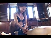 Asian mistress makes a handjob to her slave