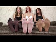 Close up Feet - 3 Girls showing feet in stockings (black stockings, white stockings and transparent stockings) - watch more close ups on SweetNylonFeet.com