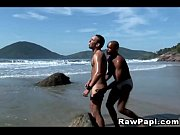 Latino outdoor kings goes bareback by the beach
