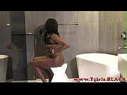 Solo black shemale wanking in the bathroom