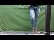Desperation pee and wetting jeans on balcony