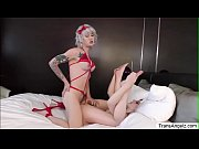 TS Lena penetrates Alex from behind in doggystyle position